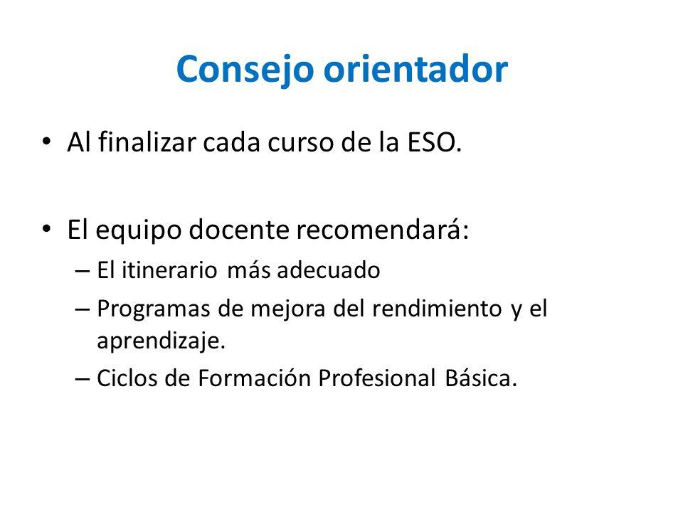 Consejo orientador Al finalizar cada curso de la ESO.