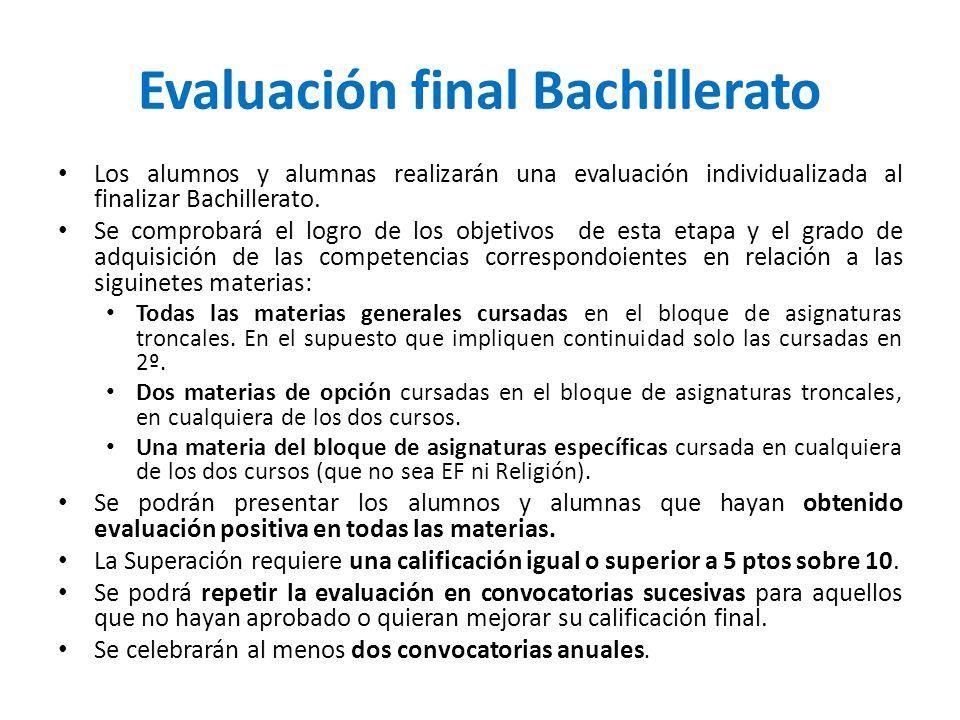 Evaluación final Bachillerato