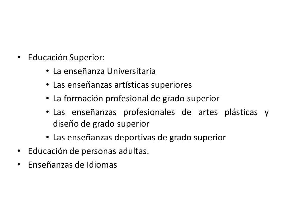 Educación Superior: La enseñanza Universitaria. Las enseñanzas artísticas superiores. La formación profesional de grado superior.