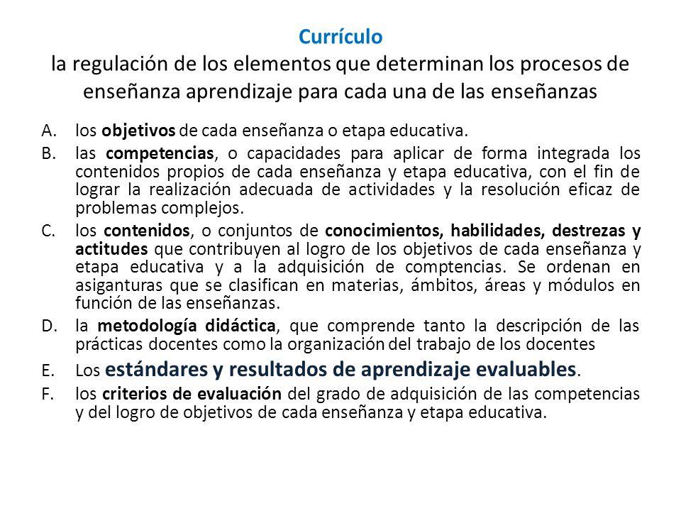 Currículo la regulación de los elementos que determinan los procesos de enseñanza aprendizaje para cada una de las enseñanzas