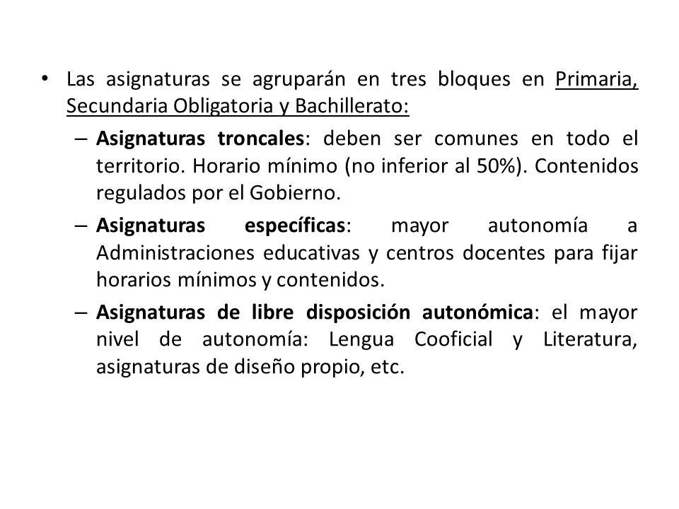 Las asignaturas se agruparán en tres bloques en Primaria, Secundaria Obligatoria y Bachillerato: