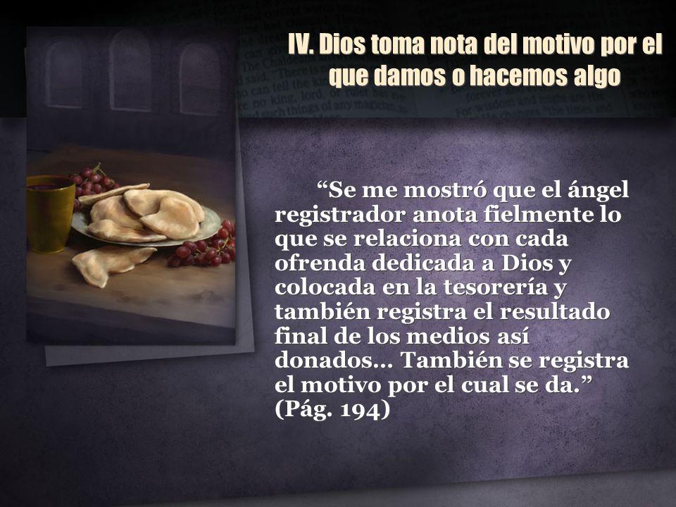 IV. Dios toma nota del motivo por el que damos o hacemos algo