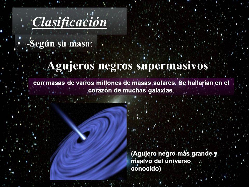 Clasificación Agujeros negros supermasivos -Según su masa: