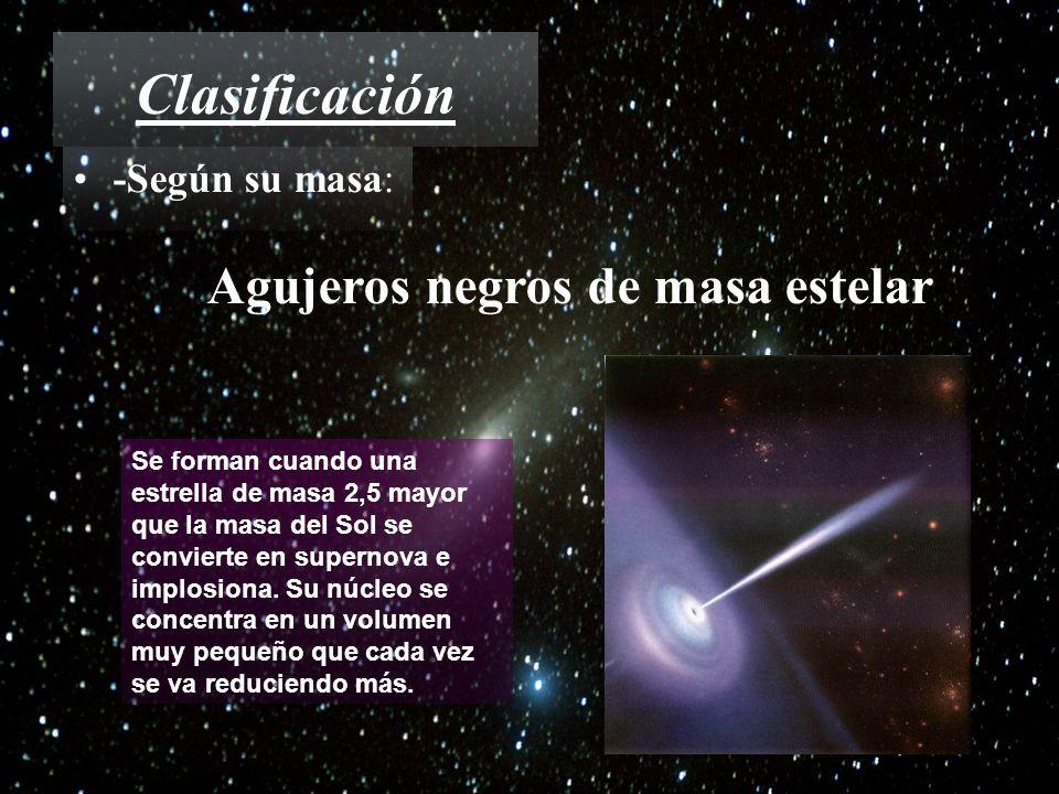 Clasificación Agujeros negros de masa estelar -Según su masa: