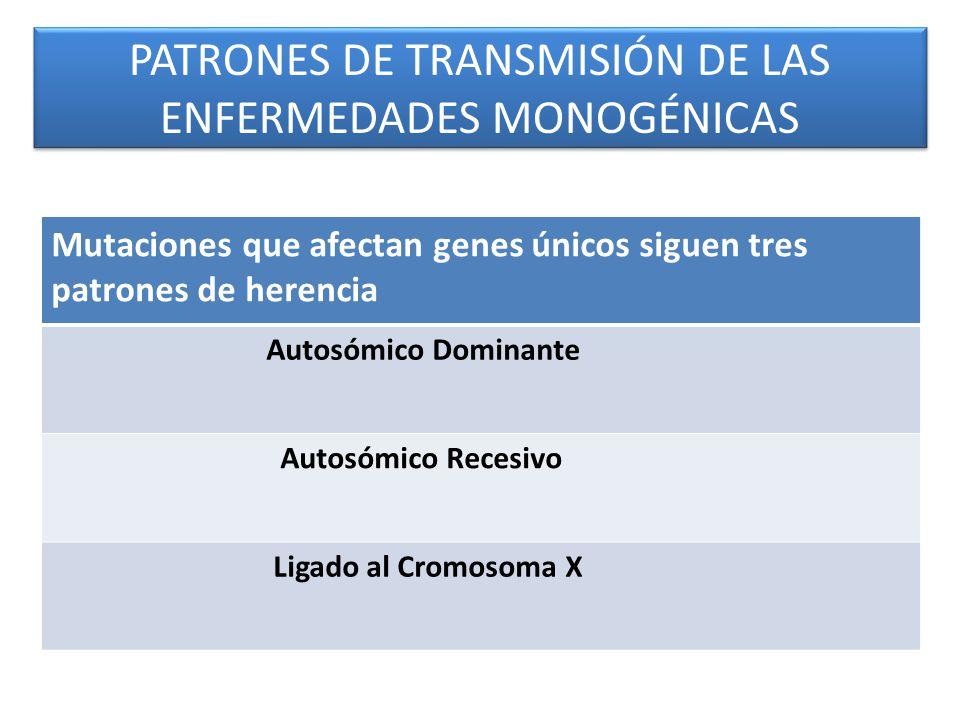 PATRONES DE TRANSMISIÓN DE LAS ENFERMEDADES MONOGÉNICAS