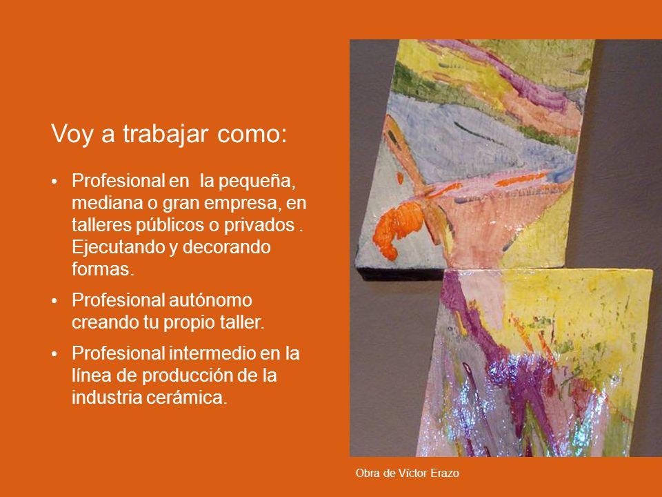 Voy a trabajar como: Profesional en la pequeña, mediana o gran empresa, en talleres públicos o privados . Ejecutando y decorando formas.
