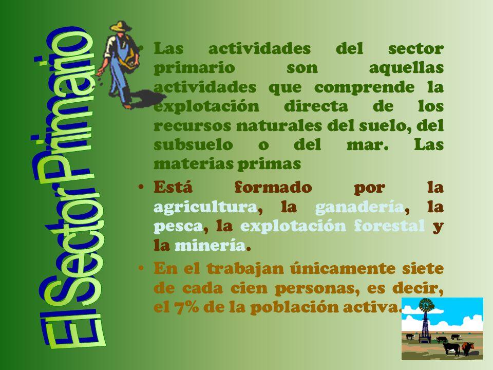 Las actividades del sector primario son aquellas actividades que comprende la explotación directa de los recursos naturales del suelo, del subsuelo o del mar. Las materias primas