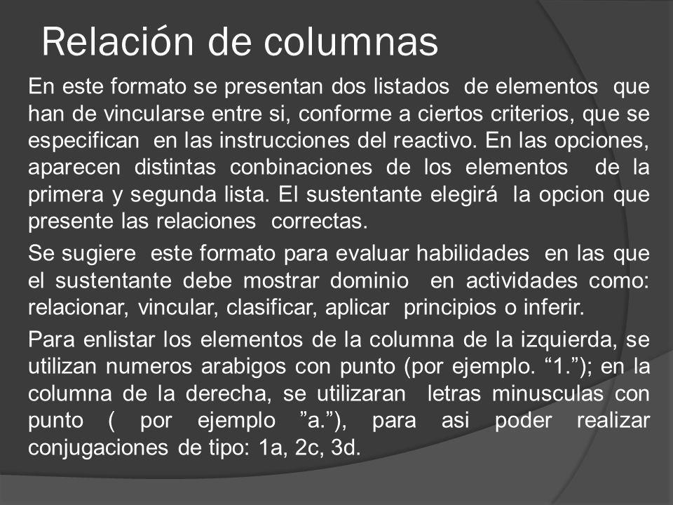 Relación de columnas