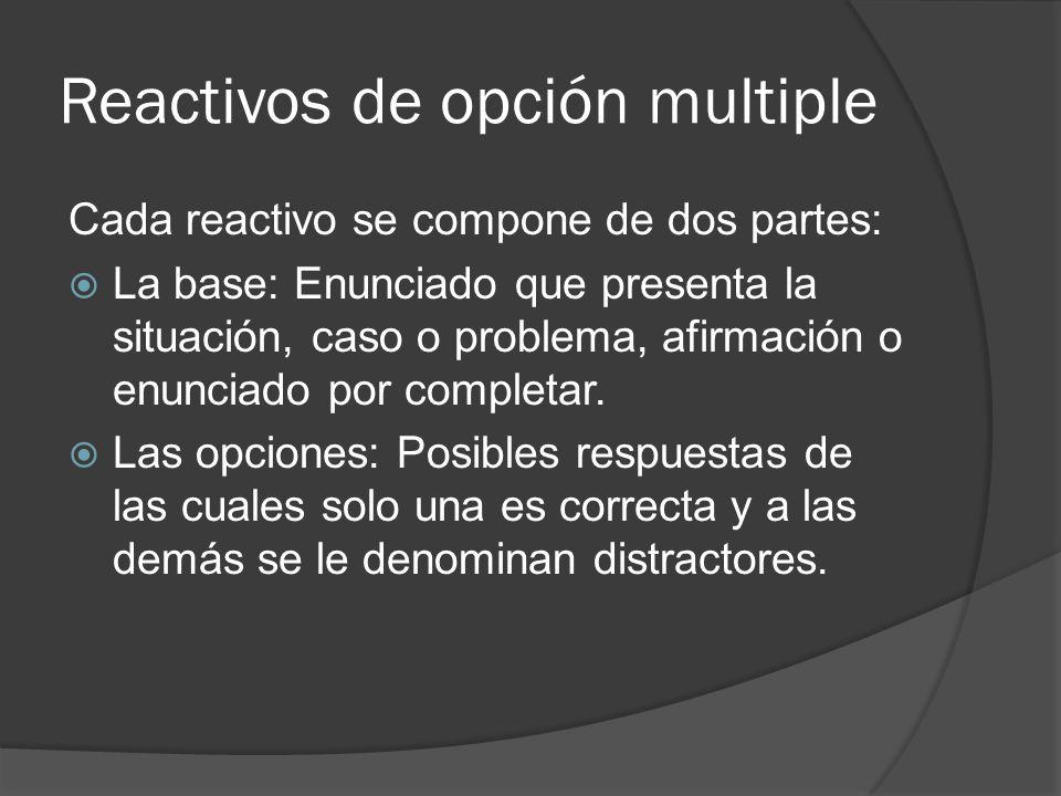 Reactivos de opción multiple