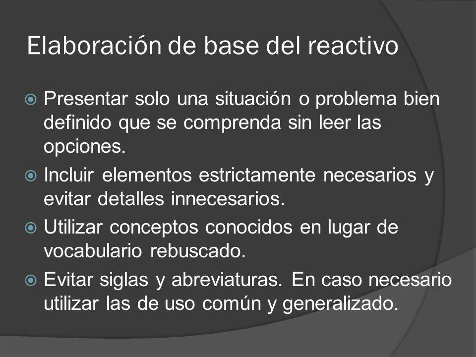 Elaboración de base del reactivo