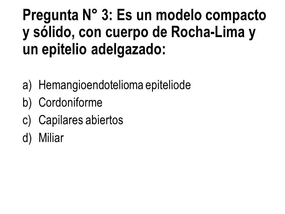 Pregunta N° 3: Es un modelo compacto y sólido, con cuerpo de Rocha-Lima y un epitelio adelgazado: