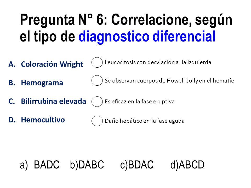 Pregunta N° 6: Correlacione, según el tipo de diagnostico diferencial