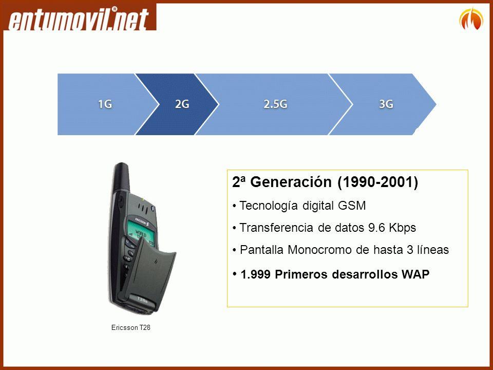 2ª Generación (1990-2001) 1.999 Primeros desarrollos WAP