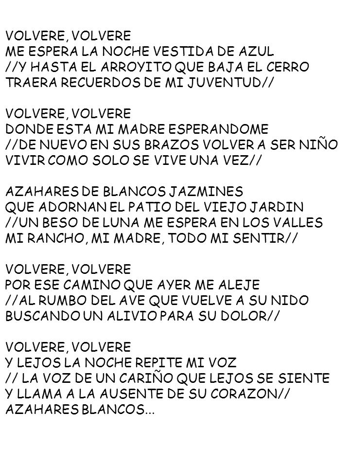 VOLVERE, VOLVEREME ESPERA LA NOCHE VESTIDA DE AZUL. //Y HASTA EL ARROYITO QUE BAJA EL CERRO. TRAERA RECUERDOS DE MI JUVENTUD//