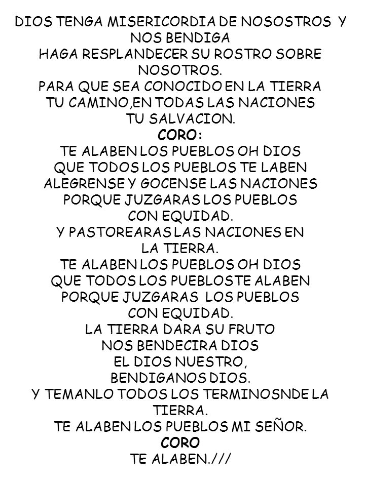 DIOS TENGA MISERICORDIA DE NOSOSTROS Y NOS BENDIGA