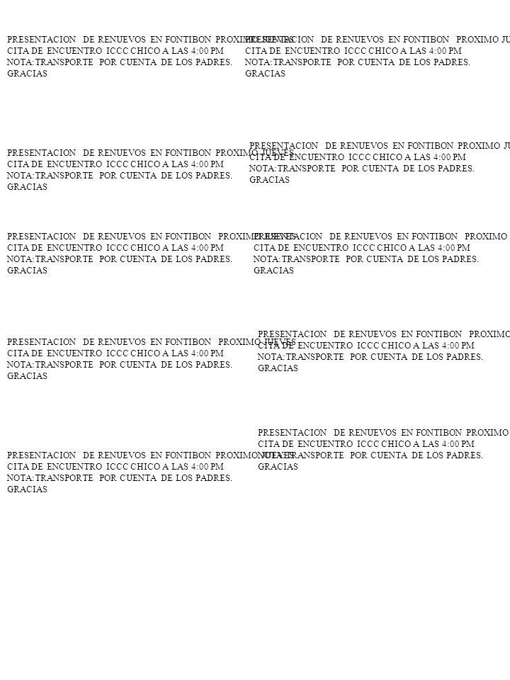 PRESENTACION DE RENUEVOS EN FONTIBON PROXIMO JUEVES