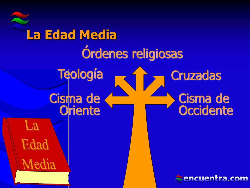 La Edad Media Órdenes religiosas. Teología. Cruzadas. Cisma de Oriente. Cisma de Occidente. La.