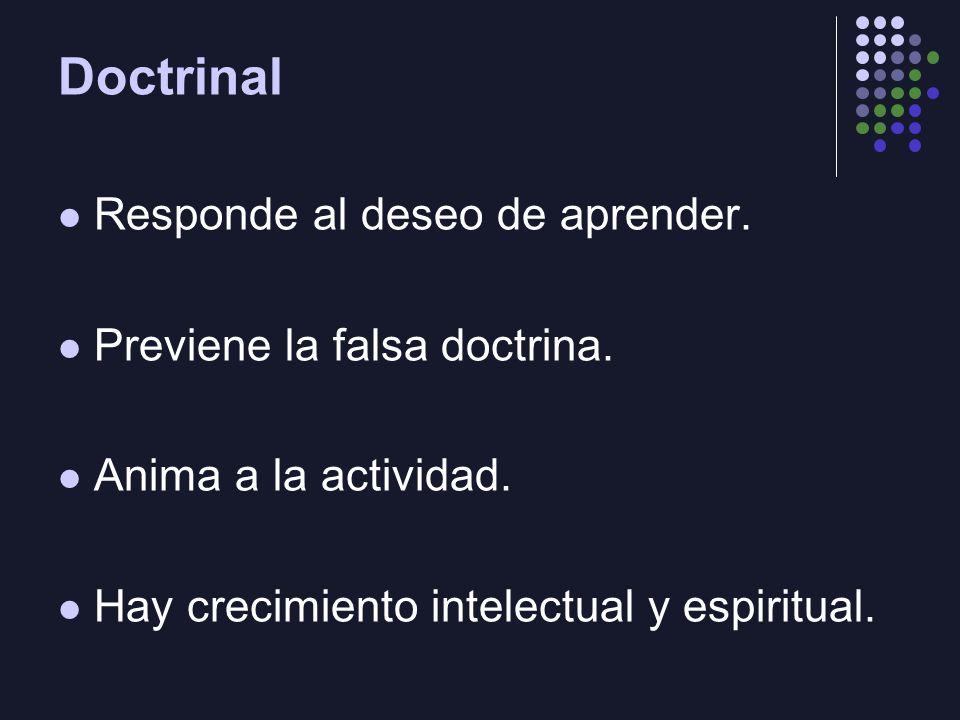 Doctrinal Responde al deseo de aprender. Previene la falsa doctrina.