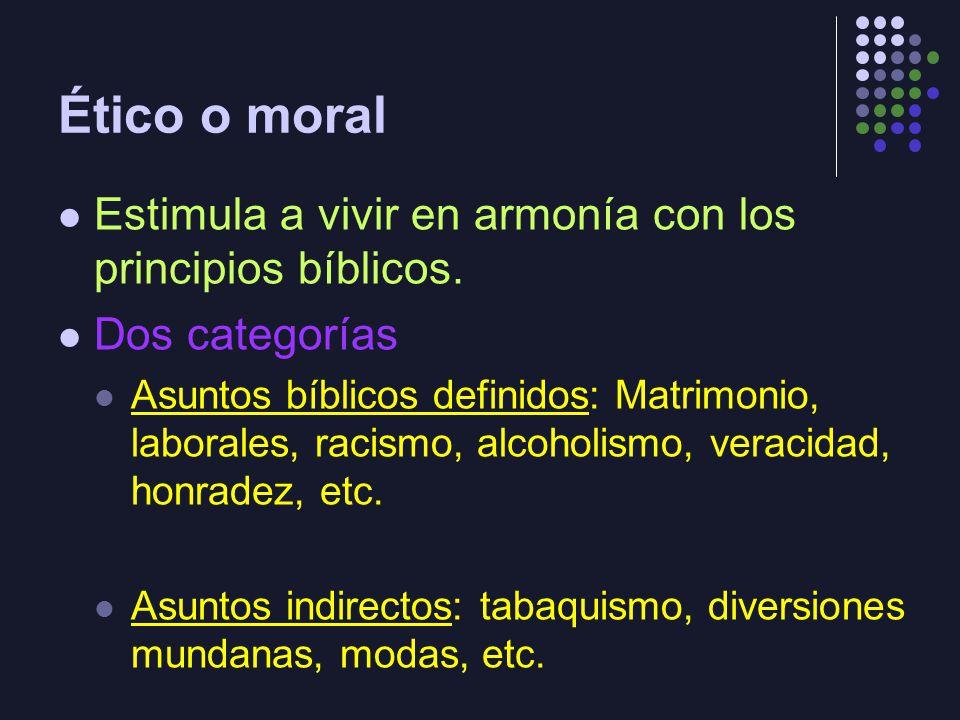 Ético o moral Estimula a vivir en armonía con los principios bíblicos.