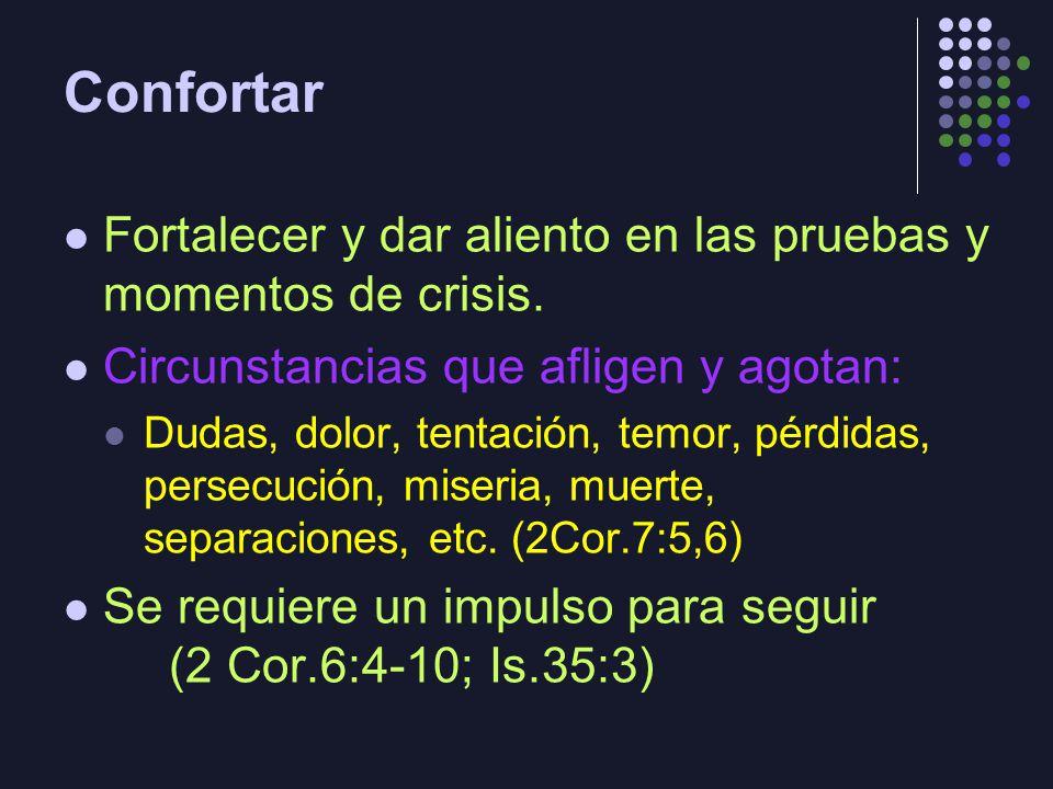 Confortar Fortalecer y dar aliento en las pruebas y momentos de crisis. Circunstancias que afligen y agotan:
