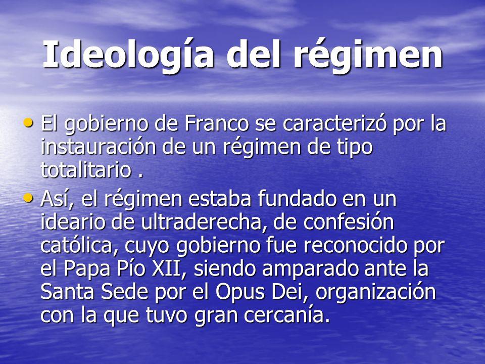 Ideología del régimen El gobierno de Franco se caracterizó por la instauración de un régimen de tipo totalitario .