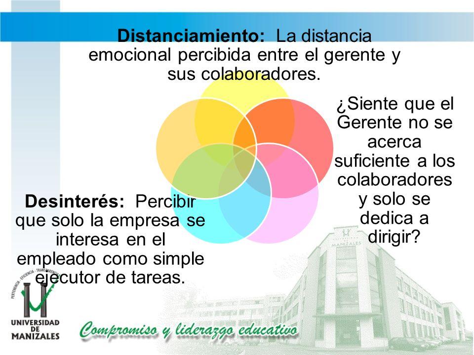 Distanciamiento: La distancia emocional percibida entre el gerente y sus colaboradores.
