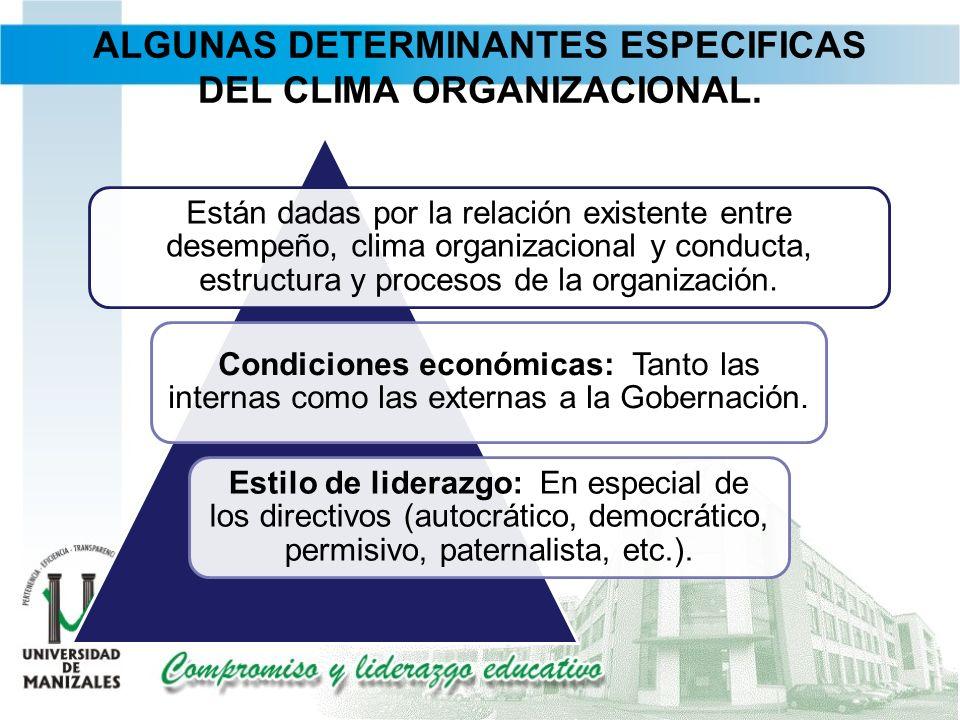 ALGUNAS DETERMINANTES ESPECIFICAS DEL CLIMA ORGANIZACIONAL.