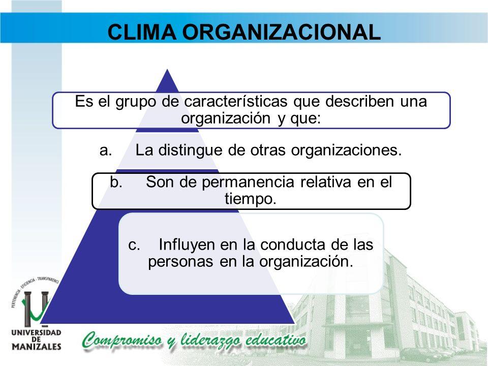 CLIMA ORGANIZACIONAL Es el grupo de características que describen una organización y que: a. La distingue de otras organizaciones.