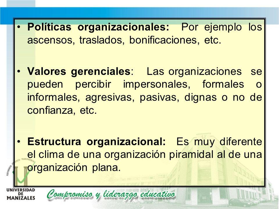 Políticas organizacionales: Por ejemplo los ascensos, traslados, bonificaciones, etc.