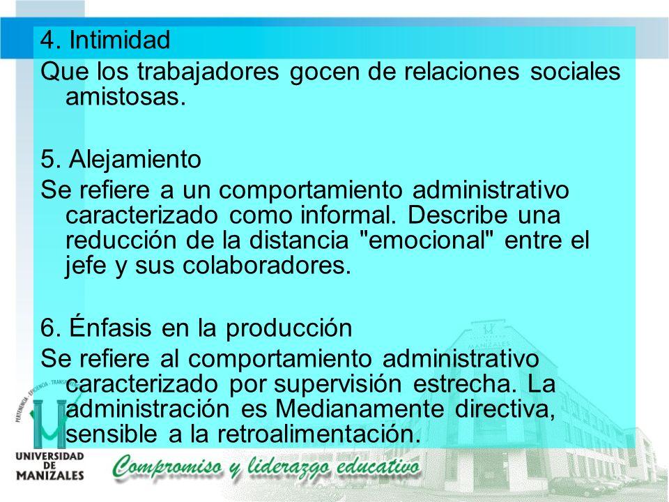 4. Intimidad Que los trabajadores gocen de relaciones sociales amistosas.
