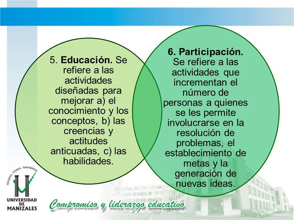 5. Educación. Se refiere a las actividades diseñadas para mejorar a) el conocimiento y los conceptos, b) las creencias y actitudes anticuadas, c) las habilidades.