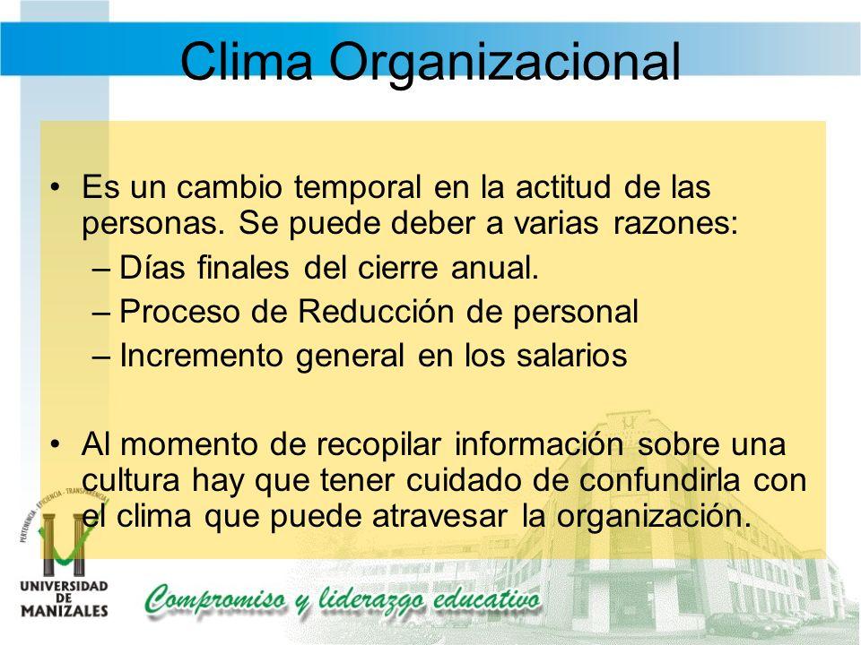Clima Organizacional Es un cambio temporal en la actitud de las personas. Se puede deber a varias razones: