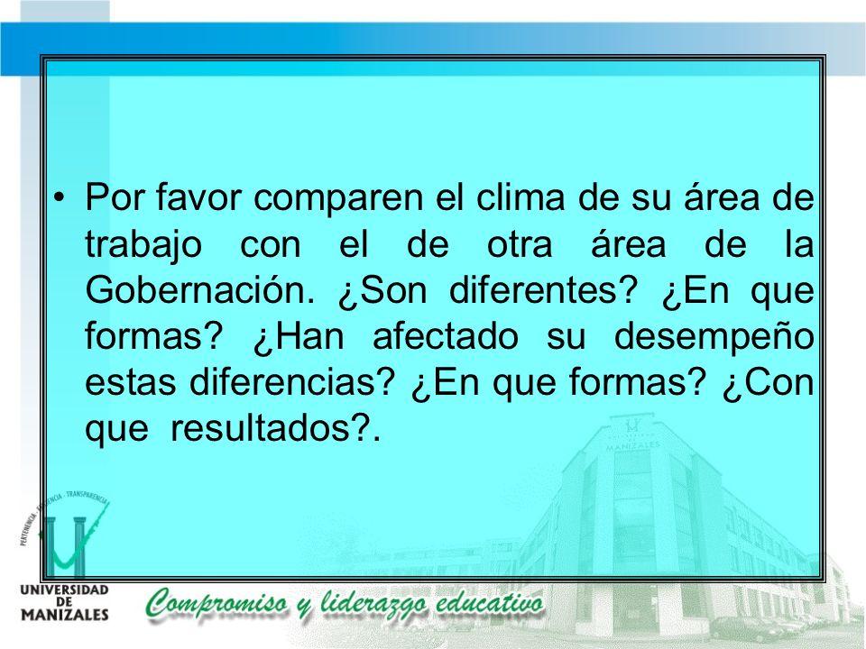 Por favor comparen el clima de su área de trabajo con el de otra área de la Gobernación.