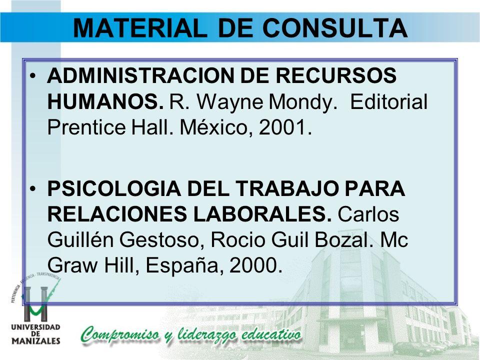 MATERIAL DE CONSULTA ADMINISTRACION DE RECURSOS HUMANOS. R. Wayne Mondy. Editorial Prentice Hall. México, 2001.