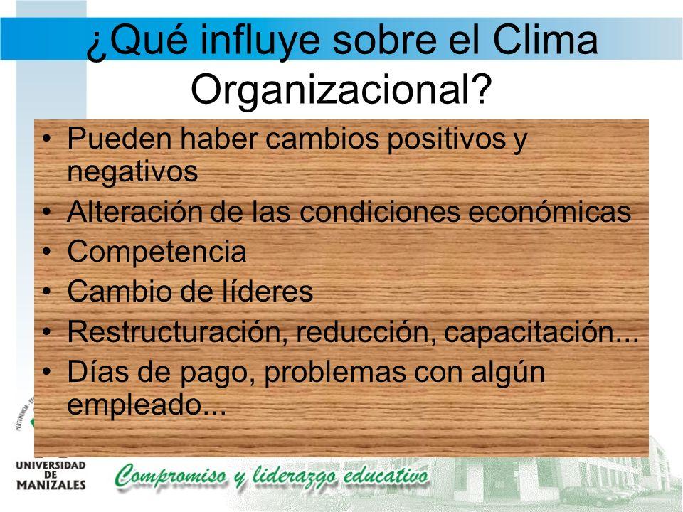 ¿Qué influye sobre el Clima Organizacional