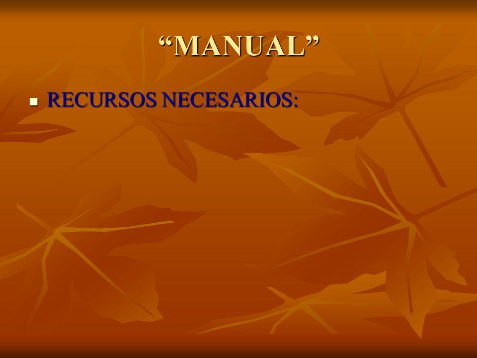 MANUAL RECURSOS NECESARIOS: