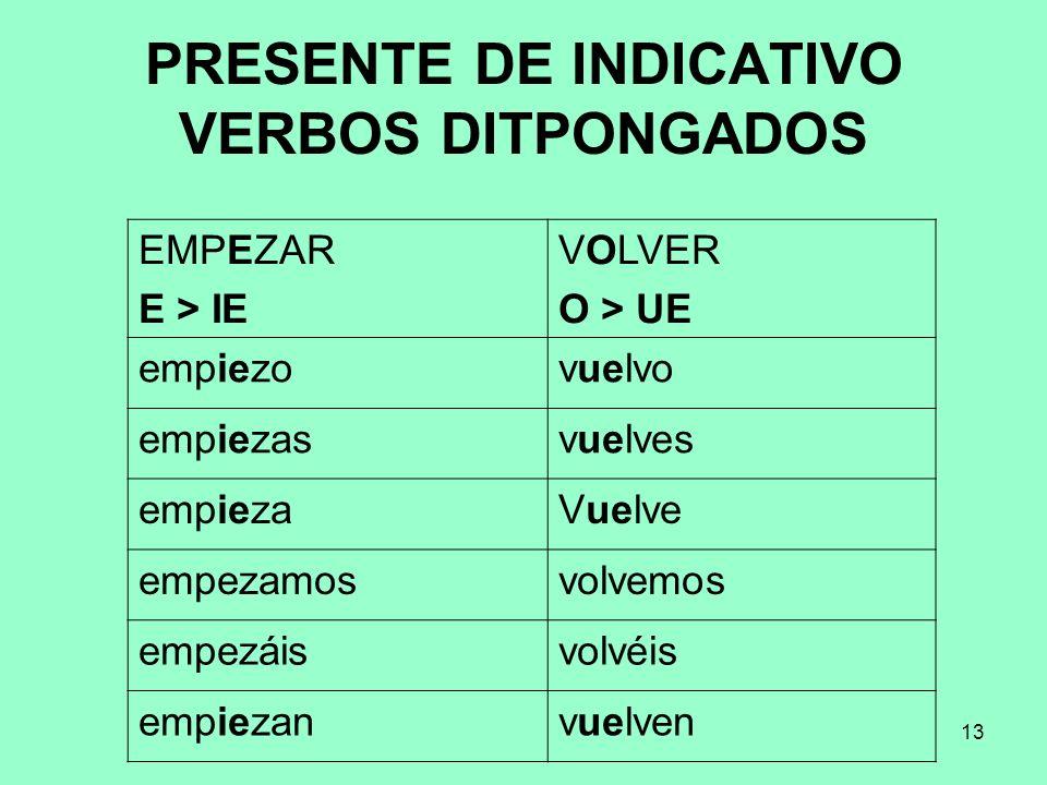 PRESENTE DE INDICATIVO VERBOS DITPONGADOS
