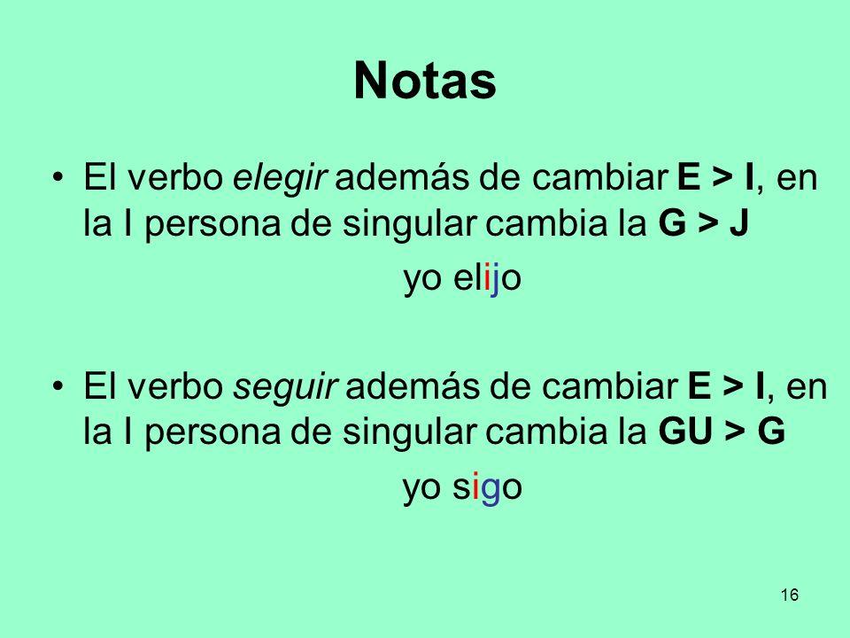 Notas El verbo elegir además de cambiar E > I, en la I persona de singular cambia la G > J. yo elijo.