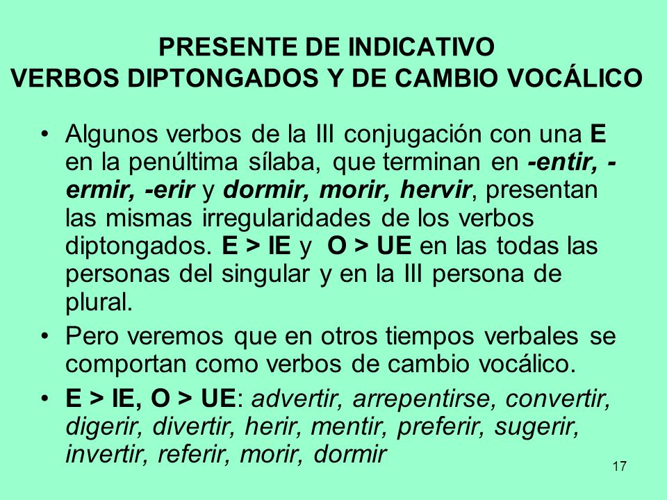 PRESENTE DE INDICATIVO VERBOS DIPTONGADOS Y DE CAMBIO VOCÁLICO