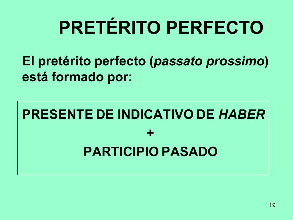 PRETÉRITO PERFECTO El pretérito perfecto (passato prossimo) está formado por: PRESENTE DE INDICATIVO DE HABER.