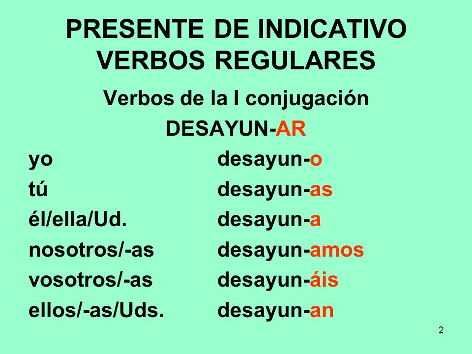 PRESENTE DE INDICATIVO VERBOS REGULARES
