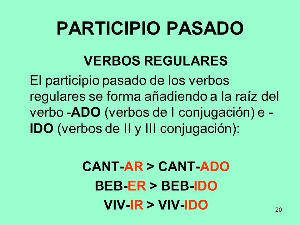 PARTICIPIO PASADO VERBOS REGULARES