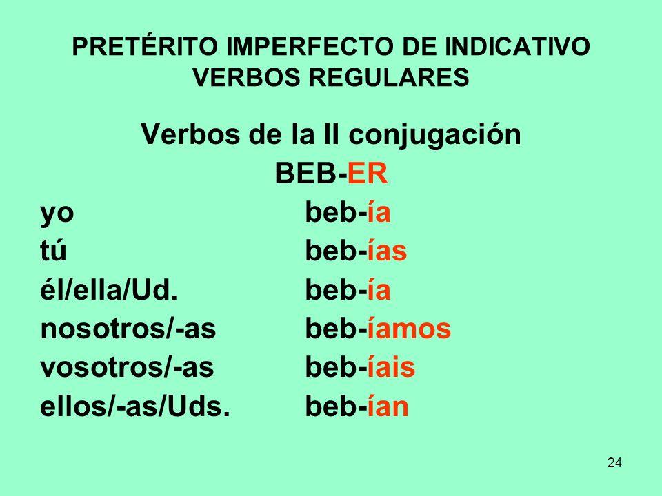 PRETÉRITO IMPERFECTO DE INDICATIVO VERBOS REGULARES