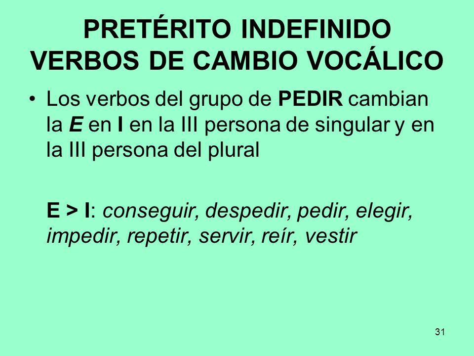 PRETÉRITO INDEFINIDO VERBOS DE CAMBIO VOCÁLICO