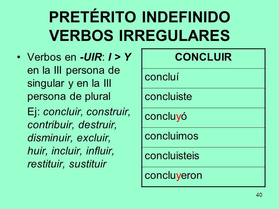 PRETÉRITO INDEFINIDO VERBOS IRREGULARES