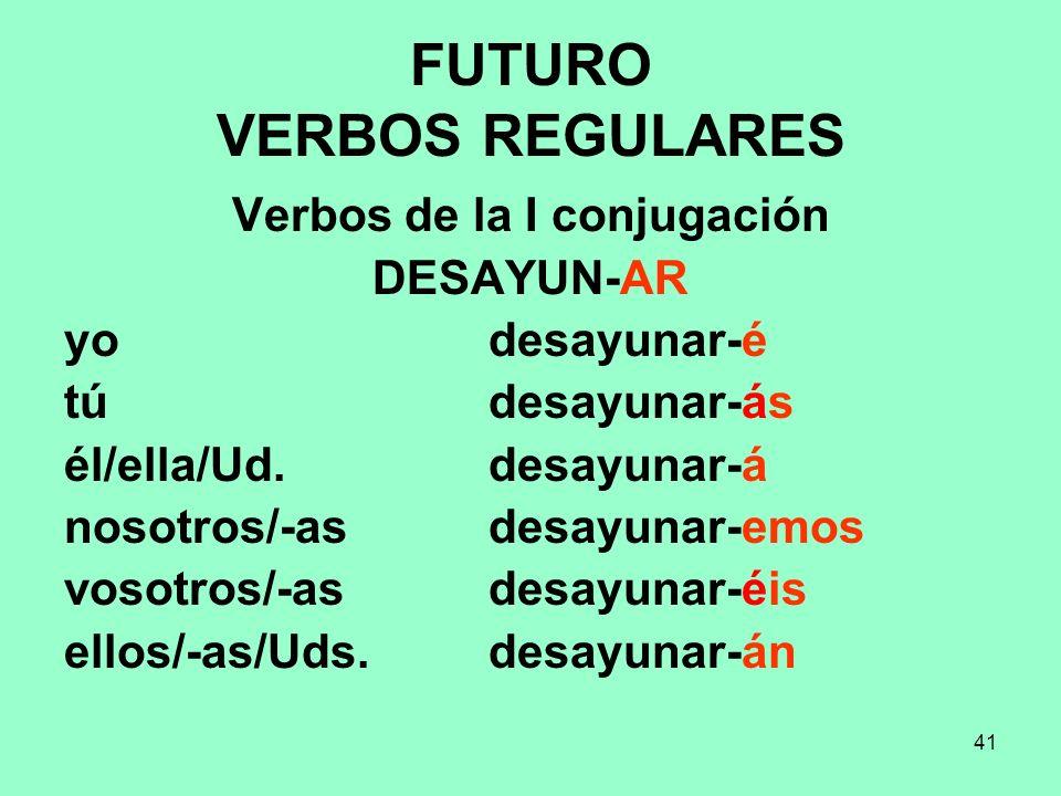 FUTURO VERBOS REGULARES