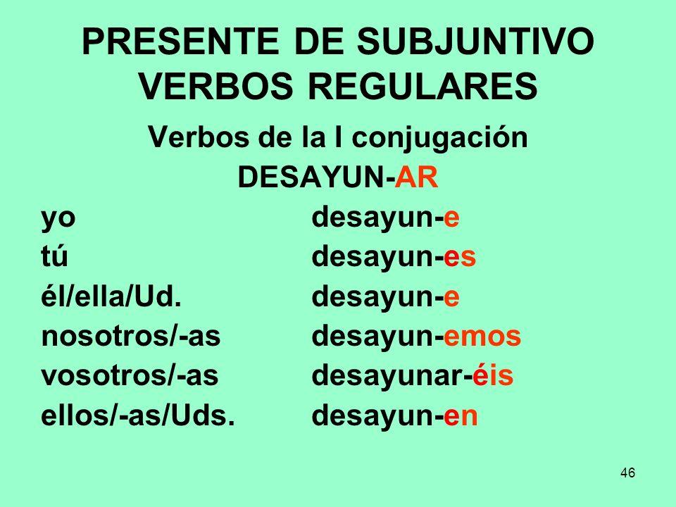 PRESENTE DE SUBJUNTIVO VERBOS REGULARES