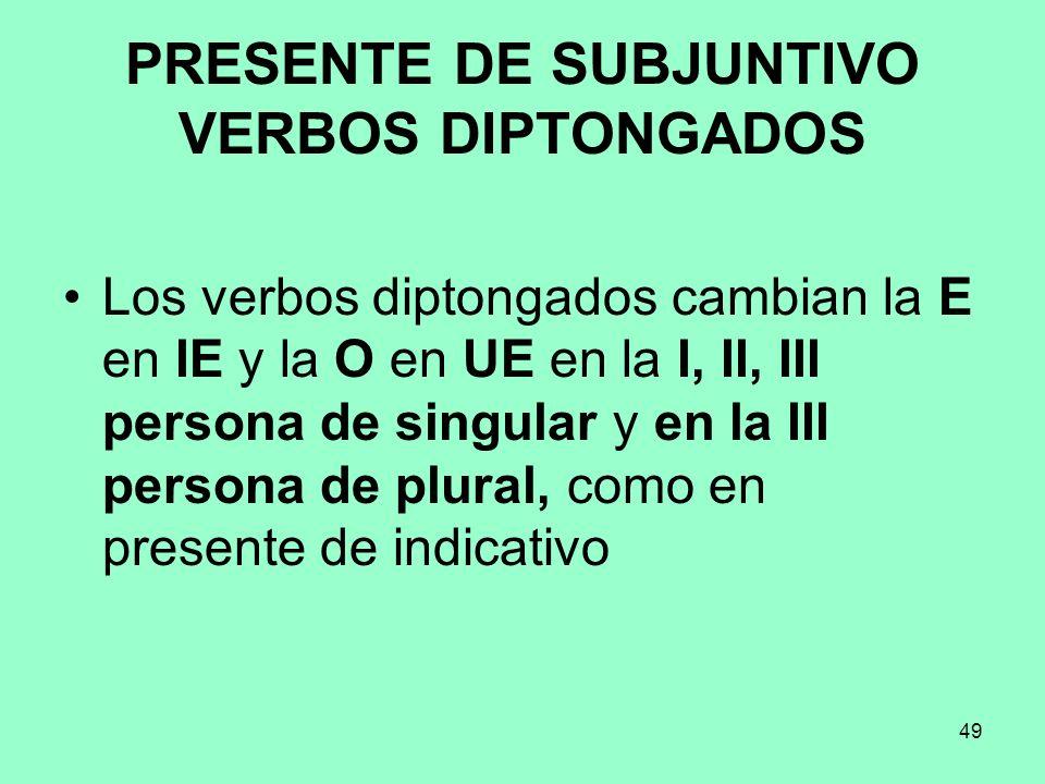 PRESENTE DE SUBJUNTIVO VERBOS DIPTONGADOS