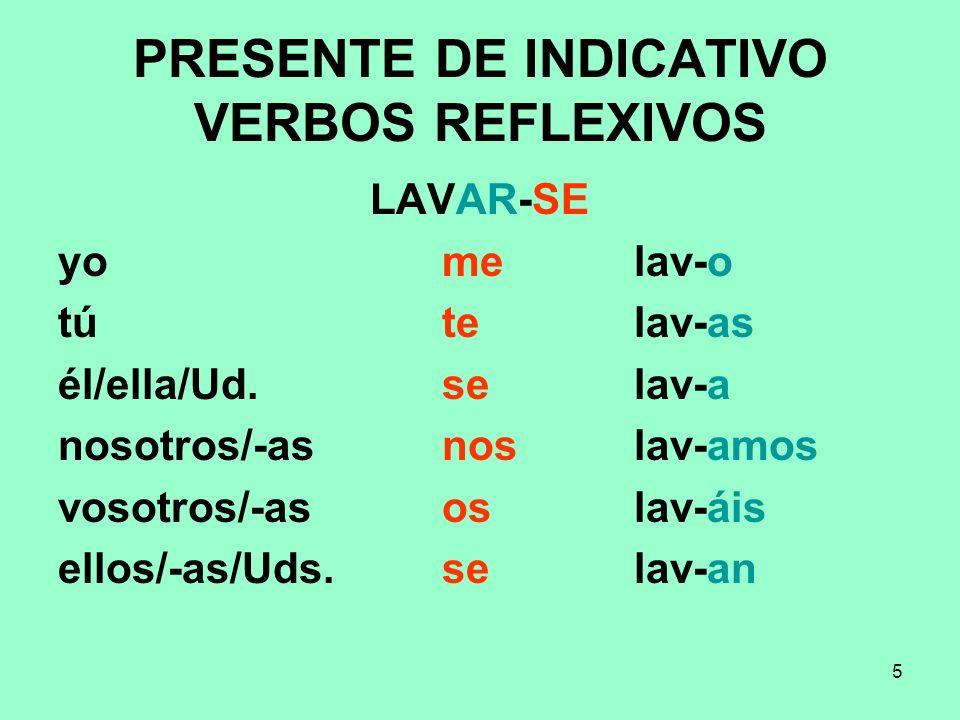 PRESENTE DE INDICATIVO VERBOS REFLEXIVOS