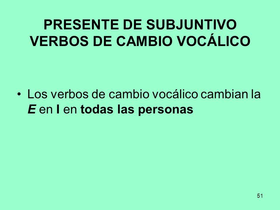PRESENTE DE SUBJUNTIVO VERBOS DE CAMBIO VOCÁLICO